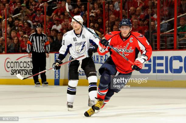 Alex Ovechkin of the Washington Capitals skates down the ice against Steven Stamkos of the Tampa Bay Lightning on March 12 2010 at the Verizon Center...