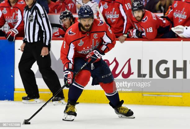 Alex Ovechkin of the Washington Capitals skates during the second period against the Vegas Golden Knights in Game Four of the Stanley Cup Final...