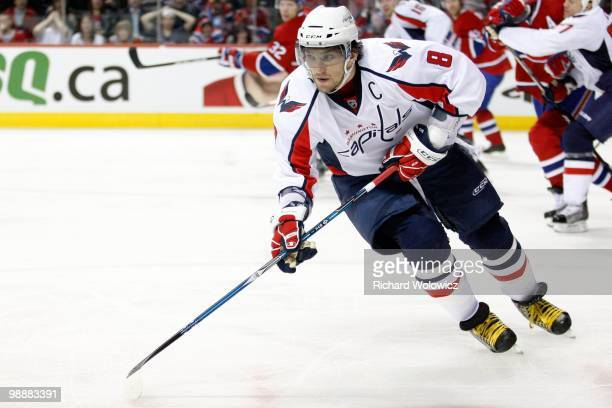 Alex Ovechkin of the Washington Capitals skates in Game Four of the Eastern Conference Quarterfinals against the Montreal Canadiens during the 2010...