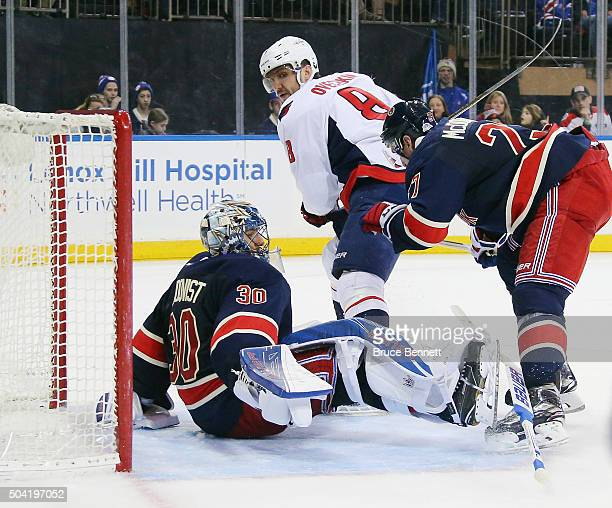 Alex Ovechkin of the Washington Capitals skates in on Henrik Lundqvist of the New York Rangers at Madison Square Garden on January 9 2016 in New York...