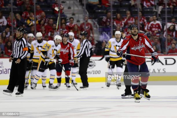 Alex Ovechkin of the Washington Capitals skates off the ice in the third period of the Capitals 6-2 loss to the Pittsburgh Penguins in Game Two of...