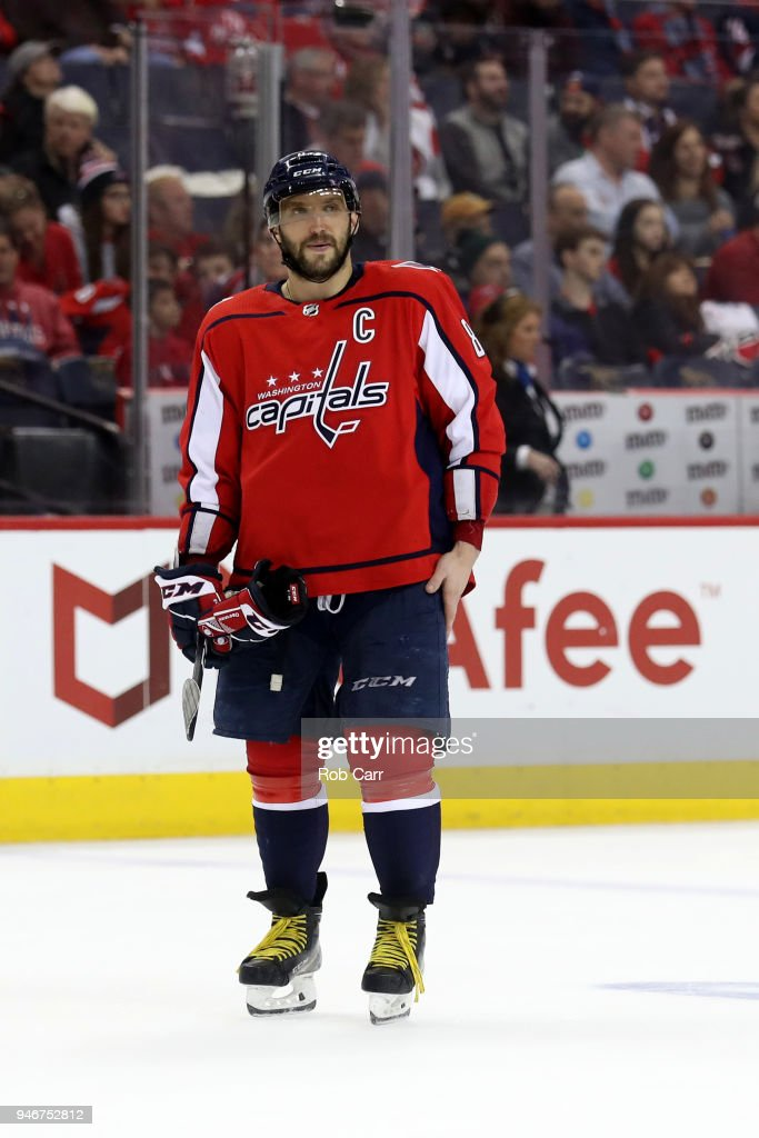 Alex Ovechkin #8 of the Washington Capitals skates on the ice against the Columbus Blue Jackets during Game Two of the Eastern Conference First Round during the 2018 NHL Stanley Cup Playoffs at Capital One Arena on April 15, 2018 in Washington, DC.