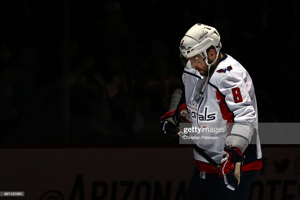 Alex Ovechkin #8 of the Washington Capitals skates on the ice before the NHL game against the Arizona Coyotes at Gila River Arena on December 22, 2017 in Glendale, Arizona.