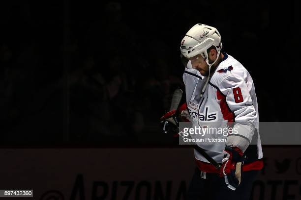 Alex Ovechkin of the Washington Capitals skates on the ice before the NHL game against the Arizona Coyotes at Gila River Arena on December 22 2017 in...
