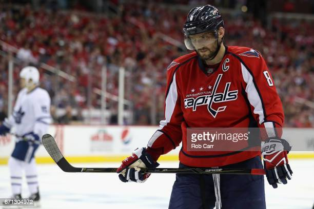 Alex Ovechkin of the Washington Capitals skates on the ice in the third period against the Toronto Maple Leafs in Game Five of the Eastern Conference...