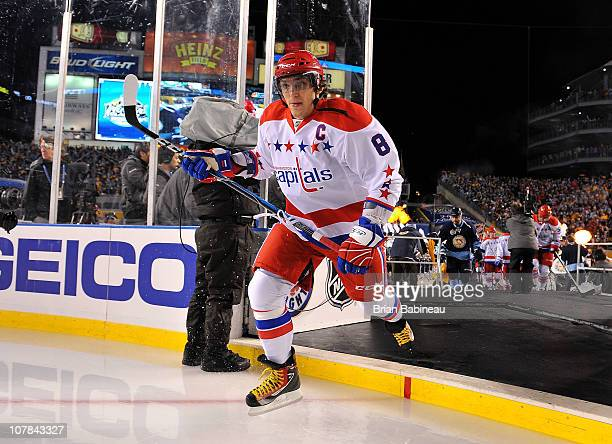 Alex Ovechkin of the Washington Capitals skates prior to his game against the Pittsburgh Penguins during the 2011 NHL Bridgestone Winter Classic at...
