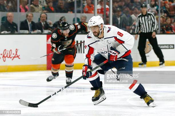 Alex Ovechkin of the Washington Capitals skates toward a shot on goal during the second period against the Anaheim Ducks at Honda Center on February...