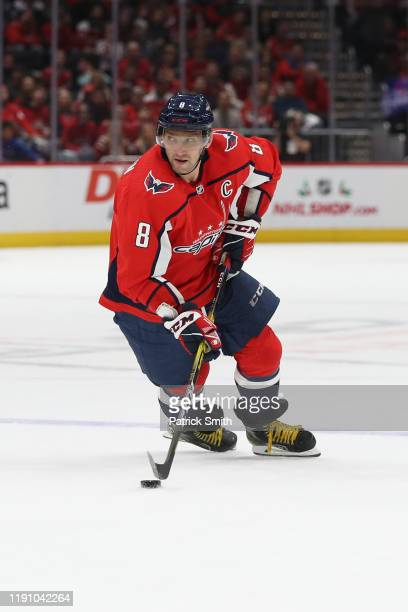 Alex Ovechkin of the Washington Capitals skates with the puck against the Tampa Bay Lightning at Capital One Arena on November 29 2019 in Washington...