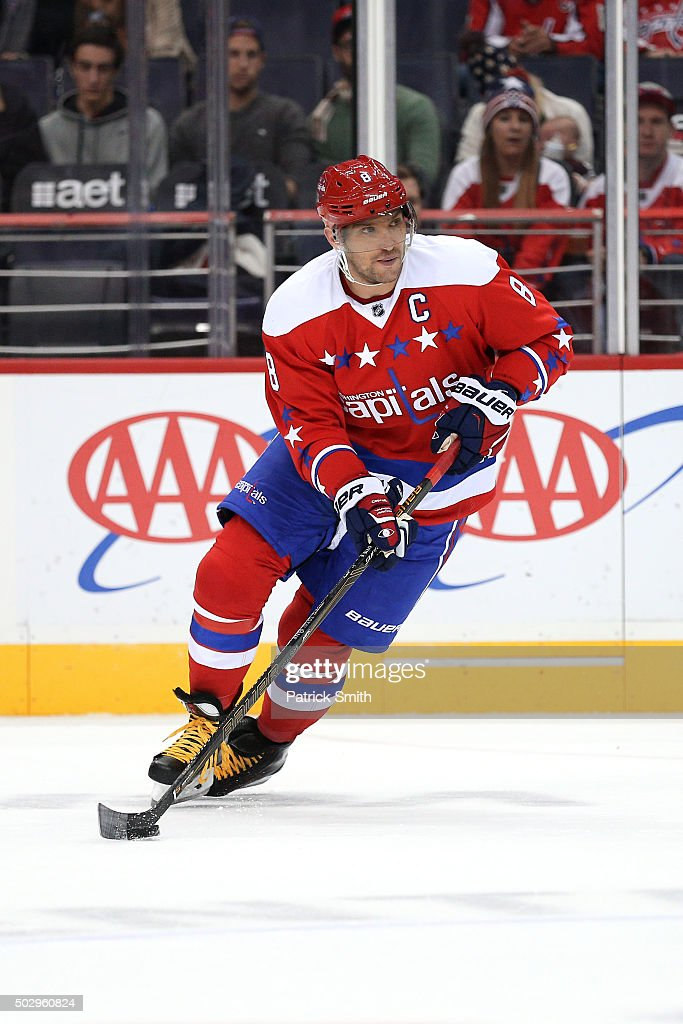 Alex Ovechkin #8 of the Washington Capitals skates with the puck against the Buffalo Sabres at Verizon Center on December 30, 2015 in Washington, DC.