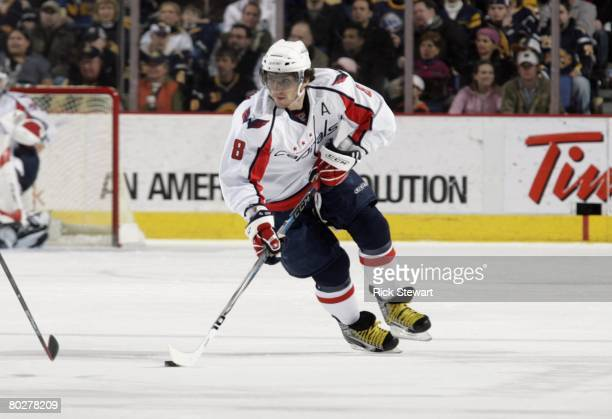 Alex Ovechkin of the Washington Capitals skates with the puck against the Buffalo Sabres during their NHL game on March 5, 2008 at HSBC Arena in...