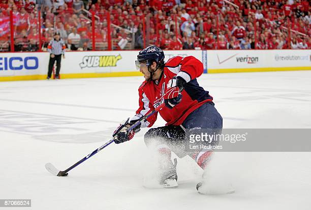 Alex Ovechkin of the Washington Capitals skates with the puck against the Pittsburgh Penguins during Game Five of the Eastern Conference Semifinal...