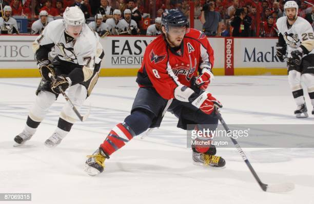 Alex Ovechkin of the Washington Capitals skates with the puck during Game Five of the Eastern Conference Semifinals of the 2009 NHL Stanley Cup...
