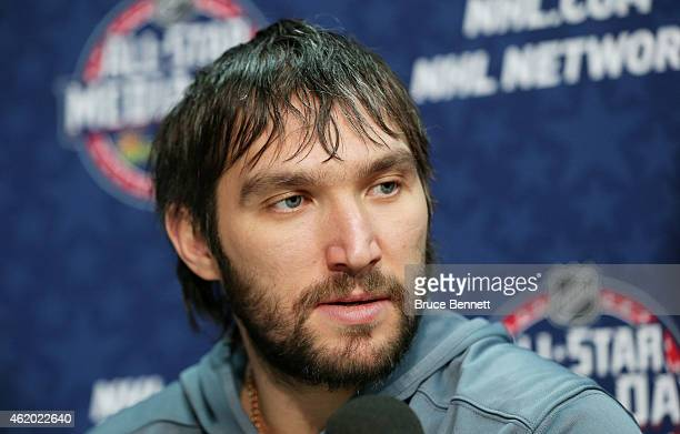 Alex Ovechkin of the Washington Capitals speaks during Media Availability for the 2015 NHL AllStar Weekend at the Nationwide Arena on January 23 2015...