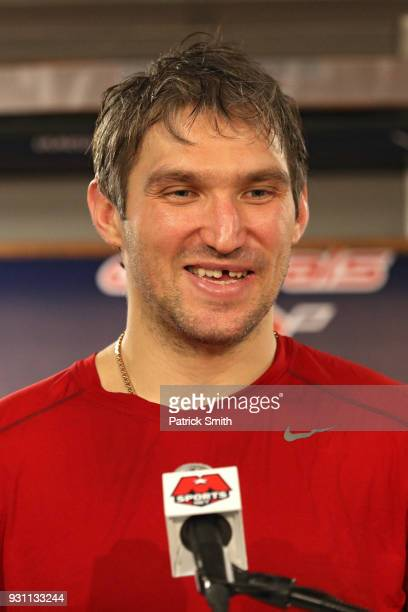 Alex Ovechkin of the Washington Capitals speaks with the media after scoring his 600th career goal in which he scored during the second period...