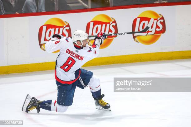 Alex Ovechkin of the Washington Capitals takes a shot on goal during second period action against the Winnipeg Jets at the Bell MTS Place on February...