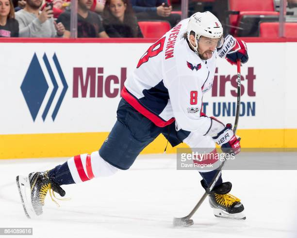 Alex Ovechkin of the Washington Capitals takes a slap shot during an NHL game against the Detroit Red Wings at Little Caesars Arena on October 20,...