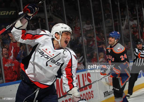 Alex Ovechkin of the Washington Capitals ties the score at 44 at 1015 of the third period against the New York Islanders at the Nassau Veterans...