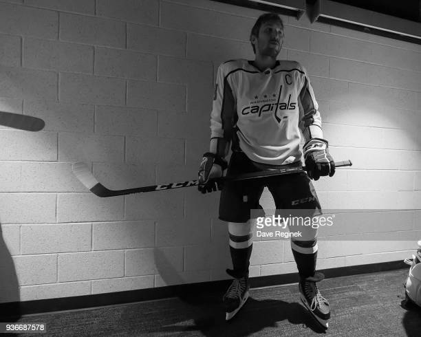 Alex Ovechkin of the Washington Capitals waits in the hall leading to the ice prior to warmups before an NHL game against the Detroit Red Wings at...