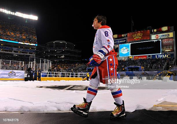Alex Ovechkin of the Washington Capitals walks to the rink prior to his game against the Pittsburgh Penguins during the 2011 NHL Bridgestone Winter...