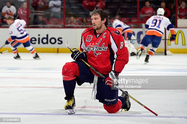Alex Ovechkin of the Washington Capitals warms up before playing against the New York Islanders in Game Two of the Eastern Conference Quarterfinals...