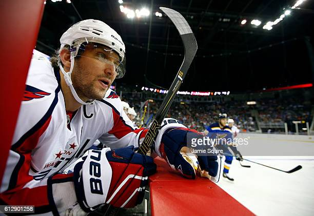 Alex Ovechkin of the Washington Capitals watches from the bench during the preseason game against St Louis Blues at Sprint Center on October 5 2016...