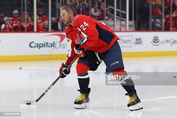 Alex Ovechkin of the Washington Capitals wears Kobe Bryant's number 24 on his jersey as he warm ups before playing against the Nashville Predators at...