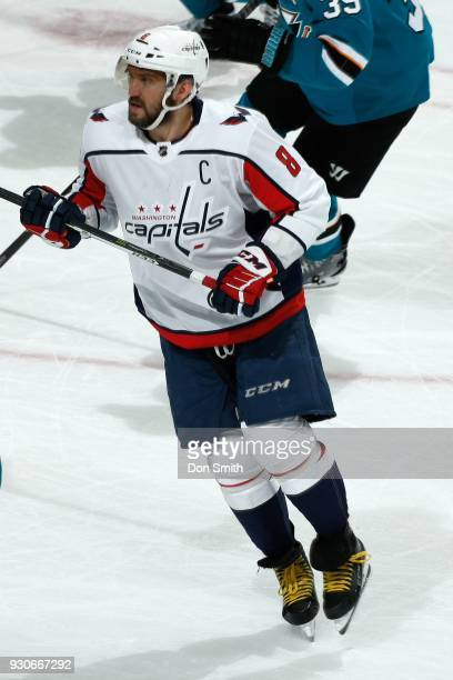 Alex Ovechkin of the Washington Capitols looks during a NHL game against the San Jose Sharks at SAP Center on March 10 2018 in San Jose California
