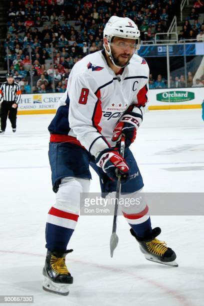 Alex Ovechkin of the Washington Capitols looks on during a NHL game against the San Jose Sharks at SAP Center on March 10 2018 in San Jose California