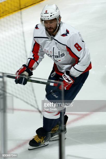 Alex Ovechkin of the Washington Capitols skates during a NHL game against the San Jose Sharks at SAP Center on March 10 2018 in San Jose California