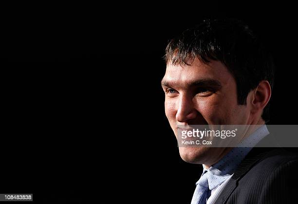 Alex Ovechkin of theWashington Capitals answers questions during NHL All Star Player Media Availability apart of the 2011 NHL AllStar Weekend at the...