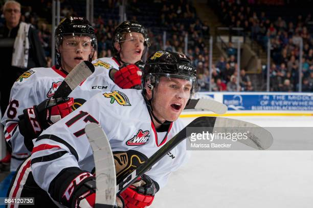 Alex Overhardt of the Portland Winterhawks shouts to the ice during first period against the Kelowna Rockets at Prospera Place on October 20 2017 in...