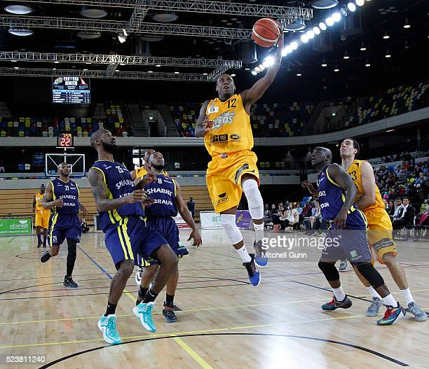 Alex Owumi of London scores with a slam dunk during the British Basketball League match between London Lions and Sheffield Sharks at The Copper Box...