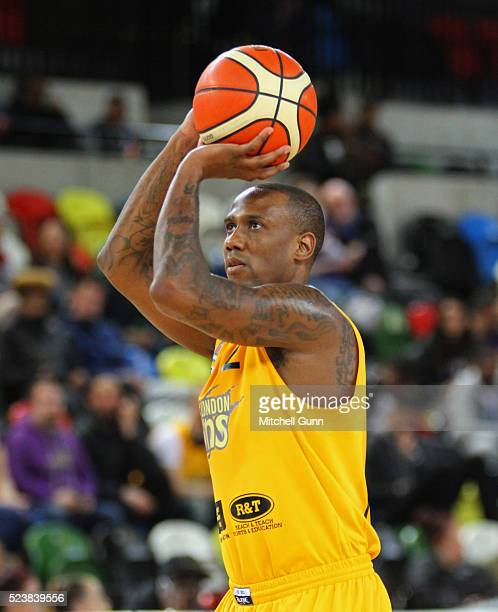 Alex Owumi of London takes a free shot during the British Basketball League match between London Lions and Sheffield Sharks at The Copper Box Arena...