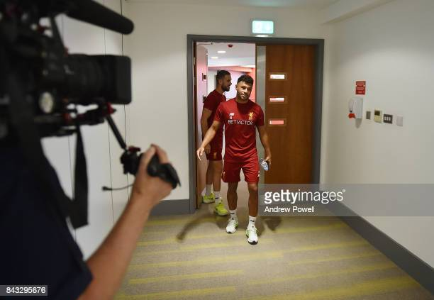 Alex Oxlade Chamberlain and Jordan Henderson of Liverpool at Melwood Training Ground on September 6 2017 in Liverpool England