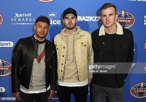 Alex Oxlade Chamberlain Carl Jenkinson and Rob Holding attend the Denver Nuggets v Indiana Pacers game during NBA Global Games London 2017 at The O2...