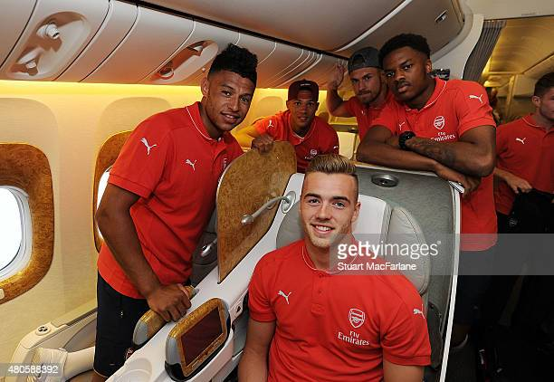 Alex Oxlade Chamberlain Kieran Gibbs Calum Chambers Aaron Ramsey and Chuba Akpom of Arsenal pose for a photo as they travel to Singapore for the...