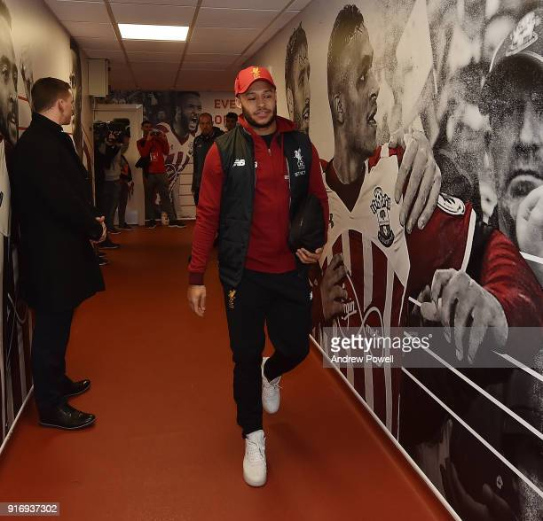 Alex Oxlade Chamberlain of Liverpool arrives before the Premier League match between Southampton and Liverpool at St Mary's Stadium on February 11...