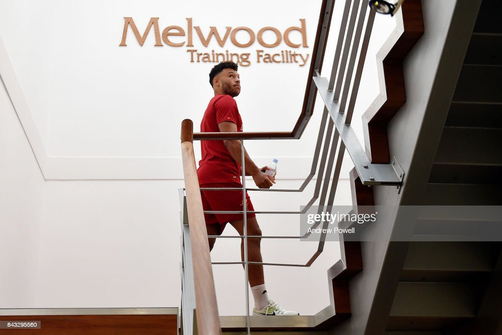 Alex Oxlade Chamberlain of Liverpool arrives for his first day's training at Melwood Training Ground on September 6, 2017 in Liverpool, England.