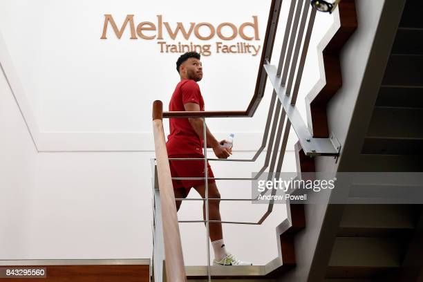 Alex Oxlade Chamberlain of Liverpool arrives for his first day's training at Melwood Training Ground on September 6 2017 in Liverpool England