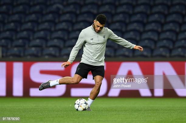 Alex Oxlade Chamberlain of Liverpool during a training session at Estadio do Dragao on February 13 2018 in Porto Portugal