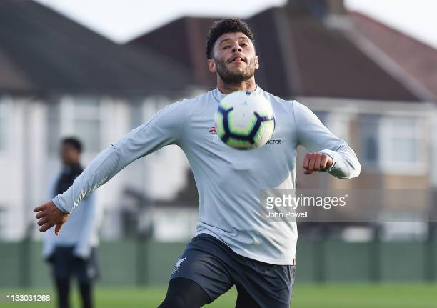 Alex Oxlade Chamberlain of Liverpool during a training session at Melwood Training Ground on March 01 2019 in Liverpool England