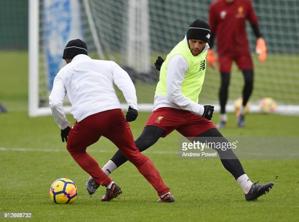 Alex Oxlade Chamberlain of Liverpool during a training session at Melwood Training Ground on January 31 2018 in Liverpool England