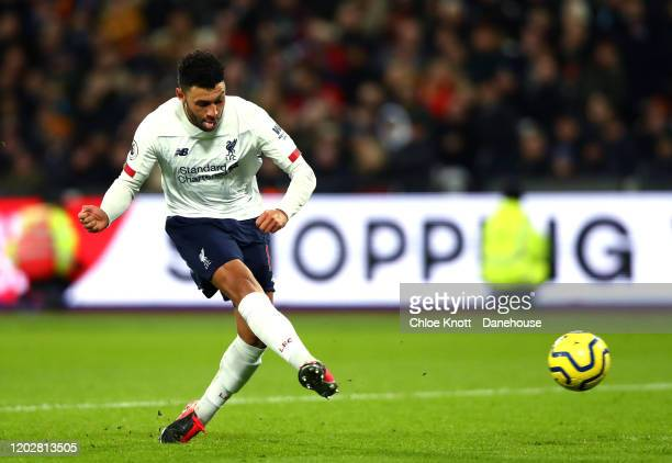 Alex Oxlade Chamberlain of Liverpool scores his teams second goal during the Premier League match between West Ham United and Liverpool FC at London...