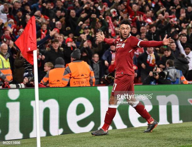 Alex OxladeChamberalin of Liverpool Celebrates the second goal during the UEFA Champions League Quarter Final Leg One match between Liverpool and...