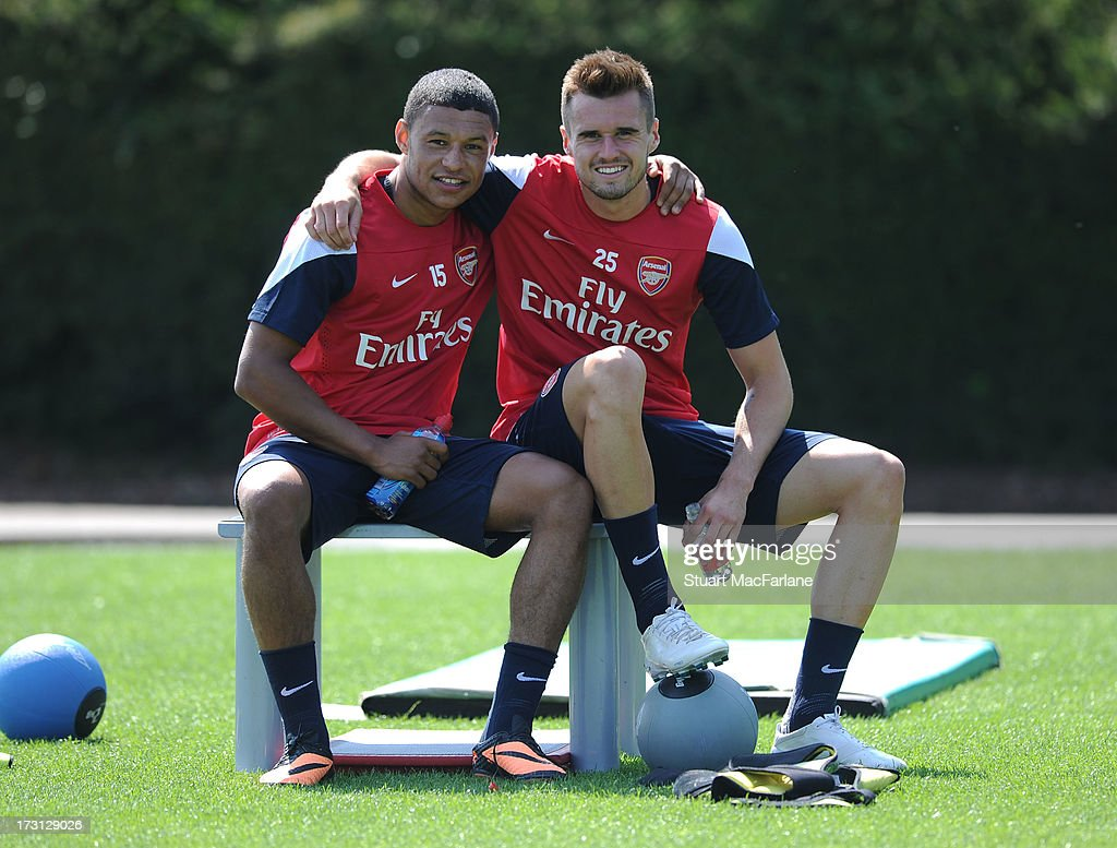 Alex Oxlade-Chamberlain and Carl Jenkinson of Arsenal pose during a training session at London Colney on July 08, 2013 in St Albans, England.
