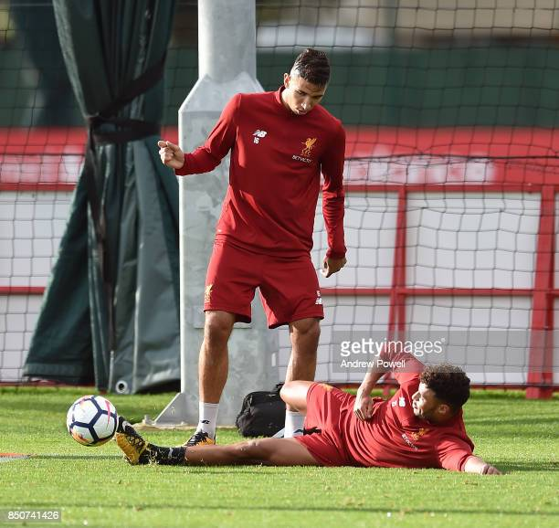 Alex OxladeChamberlain and Marko Grujic of Liverpool during a training session at Melwood Training Ground on September 21 2017 in Liverpool United...