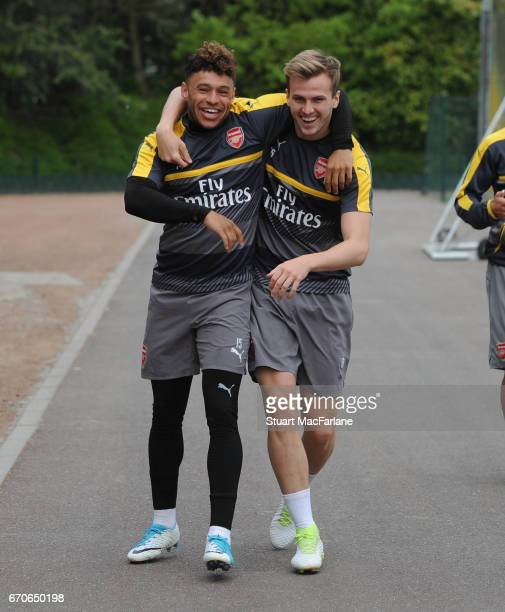 Alex OxladeChamberlain and Rob of Arsenal before a training session at London Colney on April 20 2017 in St Albans England