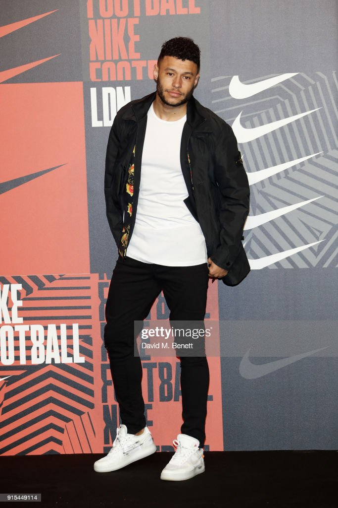 Alex Oxlade-Chamberlain attends in celebration of the 20th anniversary of Nike's most iconic football boot, some of the world's best footballers arrive in South London to debut its latest versions, the Mercurial Superfly and Vapor 360 at The Printworks on February 7, 2018 in London, England.