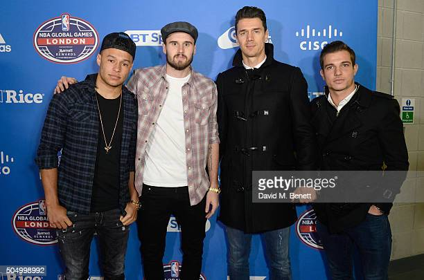 Alex OxladeChamberlain Carl Jenkinson José Fonte and Cedric Soares attend Orlando Magic vs Toronto Raptors NBA Global Game at The O2 Arena on January...