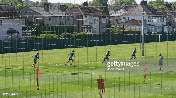 Alex OxladeChamberlain Curtis Jones Georginio Wijnaldum and Fabinho of Liverpool during a training session at Melwood Training Ground on May 20 2020...